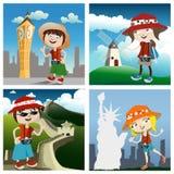 Personajes de dibujos animados del concepto del recorrido stock de ilustración