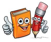Personajes de dibujos animados del libro y del lápiz Fotos de archivo libres de regalías