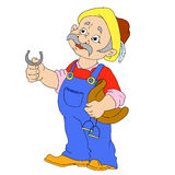 Personajes de dibujos animados del novio Granjero Man Imagen de archivo