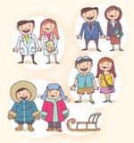 Personajes de dibujos animados del vector fijados Imagen de archivo libre de regalías