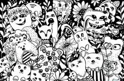 Personajes de dibujos animados en el estilo del kawaii con la imagen de animales, de pájaros y de flores Fondos del diseño, papel stock de ilustración