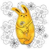 Personajes de dibujos animados en estilo del kawaii con la imagen de una liebre en un fondo abstracto Papel pintado del dise?o, i stock de ilustración