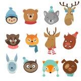 Personajes de dibujos animados felices de los animales de Navidad del invierno libre illustration