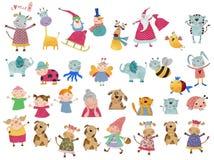 Personajes de dibujos animados fijados Fotografía de archivo