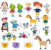 Personajes de dibujos animados fijados Foto de archivo libre de regalías