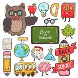 Personajes de dibujos animados lindos De nuevo al fondo de la escuela (EPS+JPG) Imagen de archivo libre de regalías