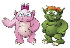 Personajes de dibujos animados lindos del monstruo Imagenes de archivo