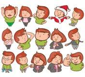 Personajes de dibujos animados lindos en diseño determinado del vector foto de archivo libre de regalías