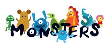 Personajes de dibujos animados lindos de los monstruos Imagenes de archivo