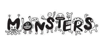 Personajes de dibujos animados lindos de los monstruos Foto de archivo