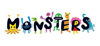 Personajes de dibujos animados lindos de los monstruos Fotos de archivo libres de regalías