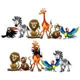 Personajes de dibujos animados de los animales salvajes aislados en el ejemplo blanco del vector stock de ilustración