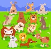 Personajes de dibujos animados de los perros grupo grande ilustración del vector