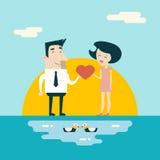 Personajes de dibujos animados masculinos y femeninos Valentine del amor Imagen de archivo libre de regalías