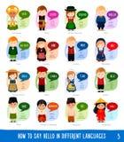 Personajes de dibujos animados que dicen hola en otros idiomas ilustración del vector