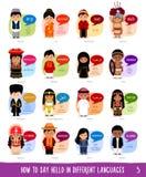Personajes de dibujos animados que dicen hola en otros idiomas libre illustration