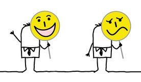 Personajes de dibujos animados que llevan a cabo muestras del Emoticon stock de ilustración