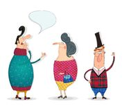 Personajes de dibujos animados sobre blanco Fotos de archivo libres de regalías