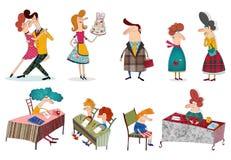 Personajes de dibujos animados sobre blanco Imagen de archivo