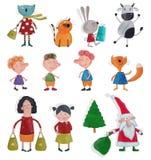 Personajes de dibujos animados sobre blanco Fotografía de archivo