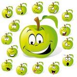 Personajes de dibujos animados verdes de Apple Foto de archivo libre de regalías