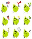 Personajes de dibujos animados verdes de la hoja Foto de archivo libre de regalías