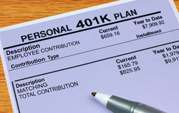 Personal 401K Plan Statement. A 401K financial document Royalty Free Stock Photography