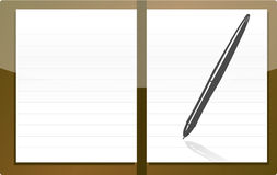 Personal agenda. Isolated brown personal agenda with pen illustration isolated over white Stock Photos