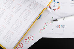 Personal agenda and graphic charts Stock Image