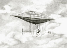 Personal airship. The man who flies personal airships Stock Photos