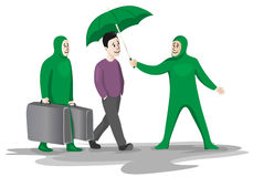 Personal assistance. Two funny green assistant to help and serve as a wealthy young man Stock Photography
