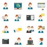 Personal Assistant Flat Icons Stock Photo