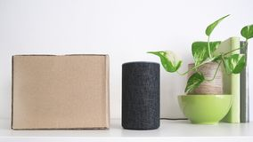 Personal assistant loudspeaker on a white wooden shelf of a smart home living room. Next, a carton box with the order. A plant and some books. Empty copy space royalty free stock image