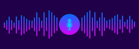 Personal assistant and voice recognition concept. Sound symbol. Microphone button. Vector illustration vector illustration