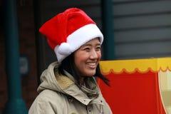 Personal av universella studior, Japan pålagd som jul Cap, när det att närma sig jultidberöm Royaltyfria Foton