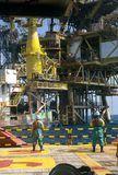 Personal basket transfer at oil platform. Workers are lifted by the crane to the offshore platform, Transfer crews by personal basket from the platform to crews Royalty Free Stock Photos
