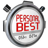 Personal Best Stopwatch Timer Race Record Speed Win Game. Personal Best words on a stopwatch or timer to illustrate a new speed record for a competitor during a Stock Image