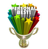 Personal Best Winner Trophy Pride in Accomplishment. The words Personal Best in a gold trophy to illustrate a record, accomplishment or achievement in a sporting Royalty Free Stock Image