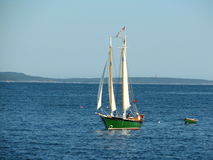 Personal boat sailing in the Atlantic Ocean. Picture taken in the Atlantic Ocean, close to Bar Harbor Maine, USA Stock Photo