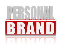 Personal brand in blue white banner - letters and block Royalty Free Stock Photo