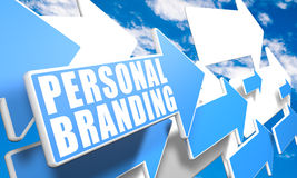 Personal Branding. 3d render concept with blue and white arrows flying in a blue sky with clouds Royalty Free Stock Photos