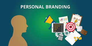 Personal branding with goals achievement market yourself Stock Image