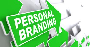 Personal Branding on Green Direction Sign. Royalty Free Stock Photography