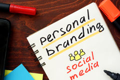 Personal Branding. Personal Branding written in a notebook. Social media concept Royalty Free Stock Photography
