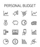 Personal budget related vector icon set. Well-crafted sign in thin line style with editable stroke. Vector symbols isolated on a white background. Simple Royalty Free Stock Photo