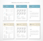 Personal business curriculum vitae and resume vector two colors Stock Photos