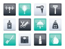 Personal care and cosmetics icons over color background stock illustration