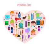 Personal care heart emblem poster. Personal morning care products set for romantic valentine day in heart form poster flat abstract vector illustration vector illustration
