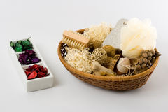 Personal Care Items. And decorations in a basket isolated on white background Royalty Free Stock Images