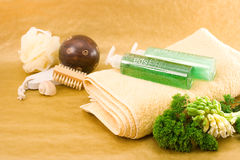 Personal Care Items. A towel, decorations and ornamental plants on golden background Stock Photography